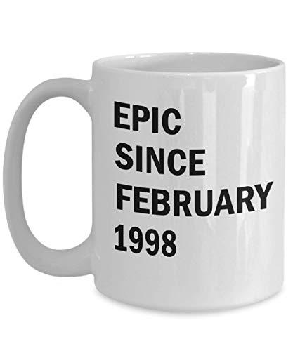 February 21st Birthday Mug Gift Epic Since February 1998 Coffee Mug Gift Idea For Men Women Aquarius Pisces White 15oz Ceramic
