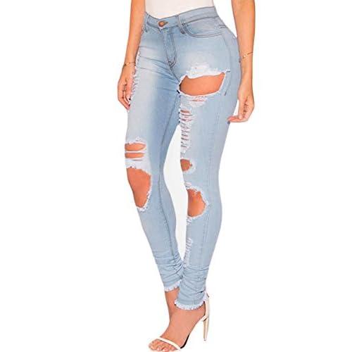 1067c6fc1 80% de descuento Luz Denim destruido Frayed Hem Skinny Stretch Jeans ...