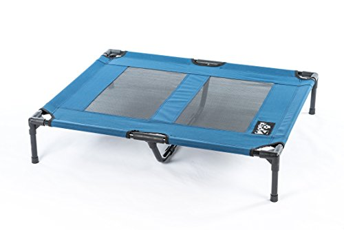 2PET Elevated Pet Bed Cot – Deluxe Cooling Elevated Pet Bed w Steel Frame - Provides Maximum Comfort - Good Sleep - Joints Support & Insect Relief– All Seasons. Large Blue - Model EPB05