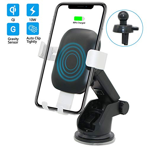 Wireless Charger Car Mount BENEWEAR Phone Holder for Airvent Windshield Dashboard QI Fast Charge Compatible with Samsung Galaxy S10 S9 S8 S7 Edge Note 8 5 + iPhone X Xs Max 8 Plus (2019 Version)