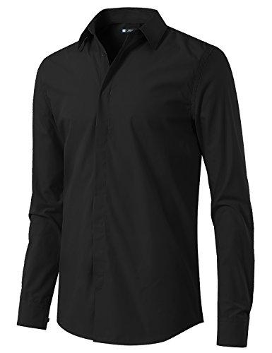 URBANCREWS Mens Hipster Hip Hop Slim Fit Button Down Dress Shirt Black, XL (Dress Hip Hop)