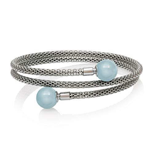 (Sterling Silver Natural Aquamarine Gemstone Bracelet)