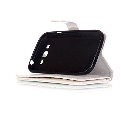 Para Smartphone Samsung Galaxy Grand Neo i9060funda Flip cover funda piel [Tarjetero] funda piel cartera Executive Diseño + Polvo Conector blanco 10 4