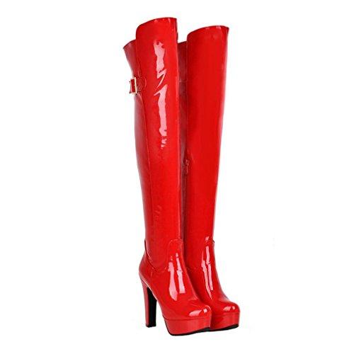 ENMAYER Frauen Lackleder Lace-up über Knie Stiefel Plattform High Heels Schuhe Rot