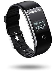 POWERADD Montre Connecté, Bracelet Connectée Intelligent Fitness Tracker d'Activité Etanche IP67 Smartwatch Cardiofréquencemètre, Sphygmomanomètre, Podomètre, Sommeil, Calories, Distance, Appel