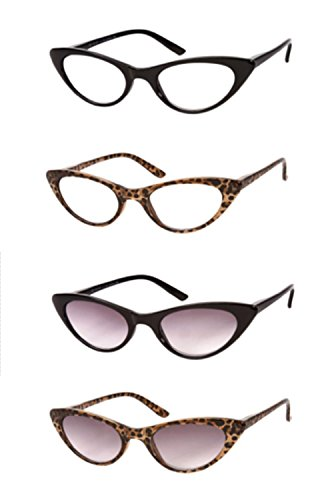 The Brit and The Ashlee Cat Eye Reading Glasses Sun Readers, Tinted Reading Glasses Sunglasses, Full Frame Readers for Women +1.25 (4 Pair) Black and Brown Leopard (4 Carrying Cases Included)