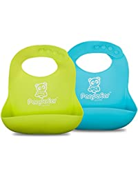 Set of 2 Cute Silicone Baby Bibs for Babies & Toddlers (10-72 Months) Waterproof, Soft, Unisex, Non Messy - Turquoise/Lime Green