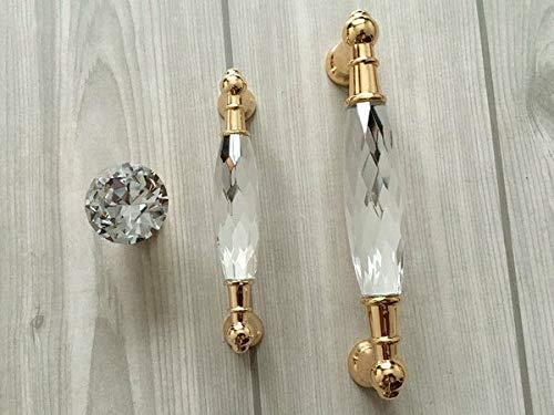 Mercury_Group, Antique Retro Vintage Pulls Knobs, 1Pc x 3.75'' 5'' Gold Glass Knob Dresser Pull Drawer Handles Cabinet Door Handle 96 128 - (Hole Spacing: 3.75'' (96 mm))