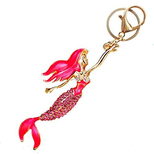 Crystal Rhinestones Apparel - Pretty Mermaid Sparkling Charm Blingbling Keychain Crystal Rhinestone Pendant (Rose)
