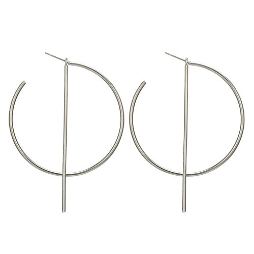Simple Big Hoop Circle Earrings Bar Dangle Earring for Women (Silver)