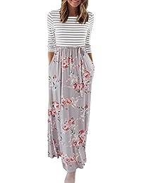 Women's Striped Floral Print 3/4 Sleeve Tie Waist Maxi...