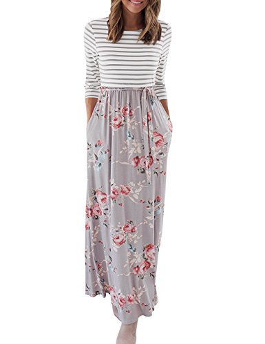 MEROKEETY Women's Striped Floral Print 3/4 Sleeve Tie Waist Maxi Dress With Pockets, Grey(floral)M