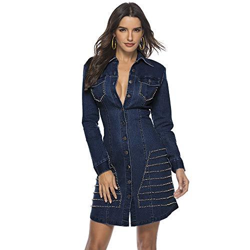 Hotheart Women's Long Sleeve Lapel Button Ripped Distressed Holes Bodycon Sexy Nightclub Party Denim Dress (M, Rivet deep Blue)