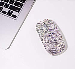 Dazzling Rhinestone Crystal Wireless Mouse with USB Receiver