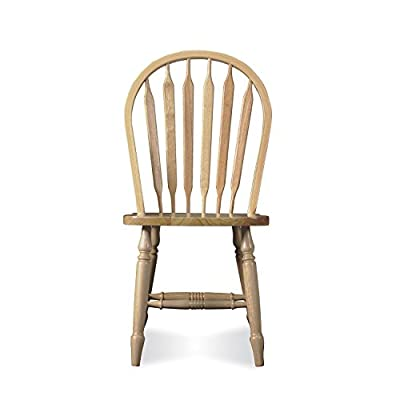 "International Concepts Windsor Arrow Back Chair, Unfinished - Dimensions: 19.5""W x 20""D x 38.1""H Seat Dimensions: 19.5'' H x 20'' W x 38.1'' D Made from solid hardwood - kitchen-dining-room-furniture, kitchen-dining-room, kitchen-dining-room-chairs - 41Q9NGlLppL. SS400  -"