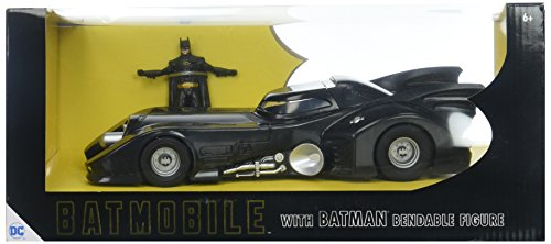 "NJ Croce 1989 Batmobile with Michael Keaton Batman 3"" Bendable Action Figure"