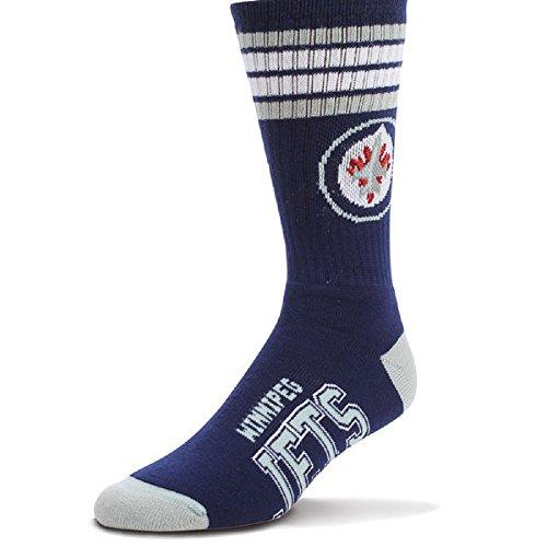 8f5e3627952 For Bare Feet NHL 4 Stripe Deuce Crew Men Socks-Winnipeg Jets-Large (