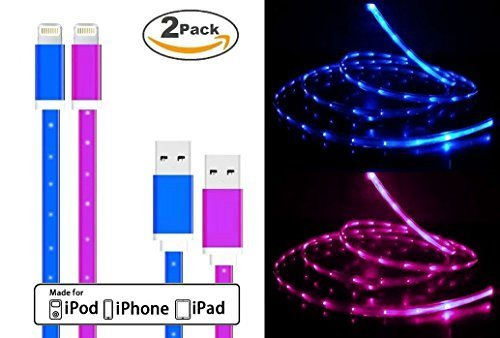 CELLTRONIX® 2 Pack Changing LED Light Visible in the Dark Light-up USB Data Sync Charger Cable Charging Cord for Apple iPhone 6S 6 6S Plus 5/5S/5C (Blue/Purple)