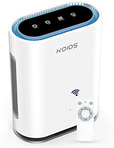 KOIOS Large Room Air Purifier with True HEPA Filter, Activated Carbon, UV Sanitizer & Ionic Air Cleaner, Detect Air Quality, Auto Mode, Remove Dust, Pet, Pollen, Allergy, Smoke, Odor, For Home, Office