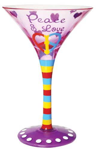 Westland Giftware 7-Inch Peace & Love Martini Glass, 7-Ounce