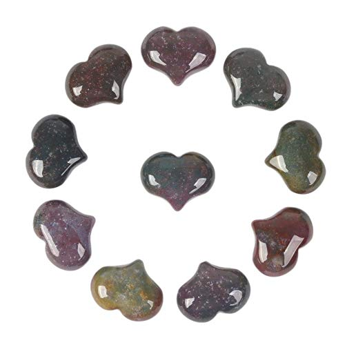 Natural Multi-Color Indian Agate Gemstone Healing Crystal 1 inch Mini Puffy Heart Pocket Stone Iron Gift Box (Pack of 10) ()