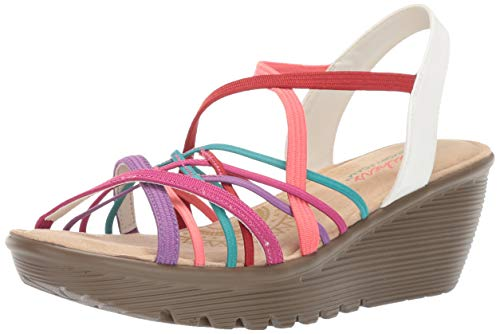 (Skechers Women's Parallel-Crossed Wires-Multi Gore Slingback Sandal Wedge, 8 M US)