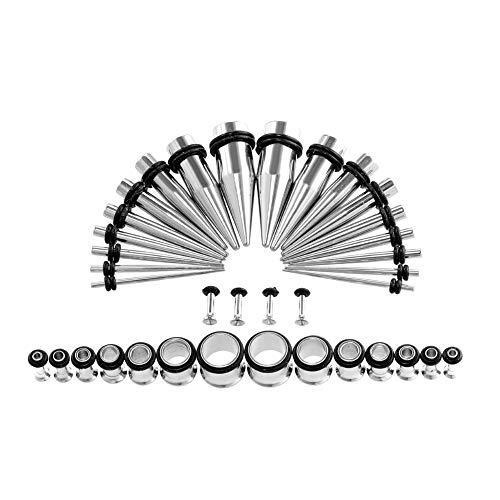 (Xpircn Stretch Kit, 36PCS 14G-00G Stainless Steel Ear Taper Gauge Plugs Set Body Piercing Jewelry)