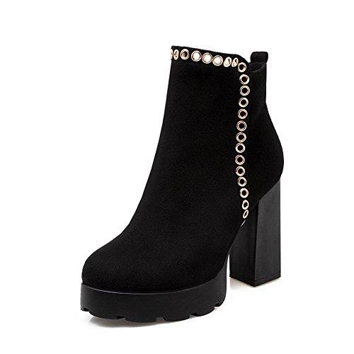 BalaMasa Ladies Chunky Heels Metal Ornament Platform Imitated Leather Boots Black zk4S8F