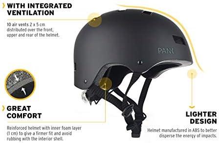 PANK Casque pour Trottinette électrique, vélo Urbain, Roller et Skateboard. Conception Ultra légère. Éclairage LED arrière Multiposition.