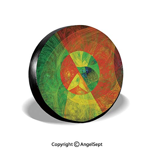 Spare Tire Cover,Abstract Artistic Surreal Fractal Dreamy Fantasy Harmony of Color Theme,Green Yellow,for Jeep Trailer SUV RV and Many Vehicles,14 Inch
