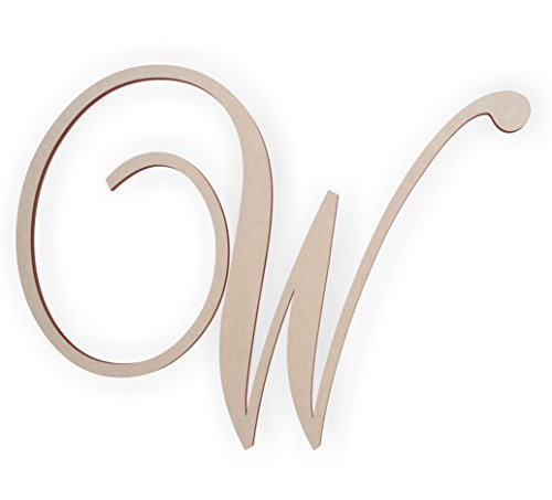 Jess and Jessica Wooden Letter W, Wooden Monogram Wall Hanging, Large Wooden Letters, Cursive Wood Letter (Wooden Monogram Letters Wall)