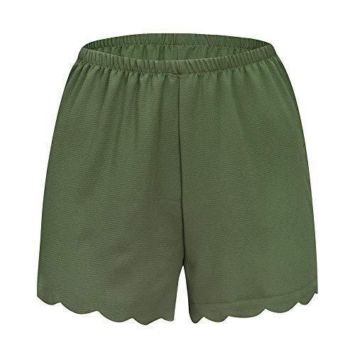 cf37f9b70f wodceeke Women Summer Beach Shorts, Loose Solid Elastic Waist Scalloped  Casual Chiffon Shorts Pants (