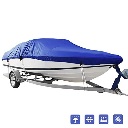 IC ICLOVER Boat Cover,(14-16ft) Heavy Duty Waterproof Snowproof Anti-UV Trailerable Cover for V-Hull,TRI-Hull,Pro-Style,Fishing Boat,Runabout,Bass Boat-All Weather ()