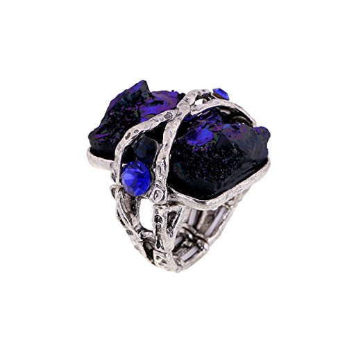 KAYMEN FASHION JEWELLERY Cubic Gem Resin Stone with Crystal Elastic Stacking Rings Antique Gold and Silver Tone 3 Colors (Blue)