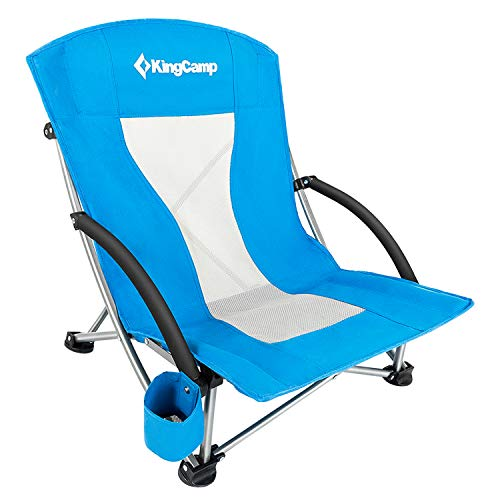 KingCamp Low Sling Beach Camping Folding Chair with Mesh Back (Blue) ()