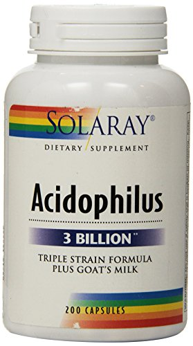 Solaray Acidophilus Plus Goat's Milk 3billion Supplement, 200 Count