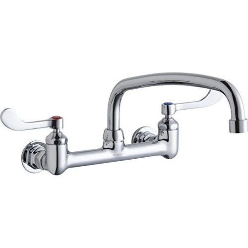 Elkay LK940AT12T4H Chrome Finish Solid Brass Faucet with 12 Arc Tube Spout and 4 Wristblade Handle, 8 Wall Mount Centerset