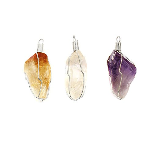 Wire Point Pendant Quartz Wrapped (Set of 3 - Quartz, Citrine and Amethyst Point Wire Wrapped Silver Toned Pendant w/ RP COA)