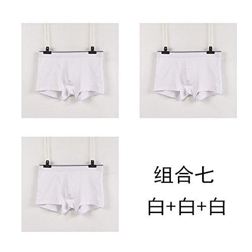 pack Hombres Oriente Plano Algodón Wfljl Simple Transpirable X Blanca Cintura Ángulo Calzoncillos Bóxer 3 qZxnSt