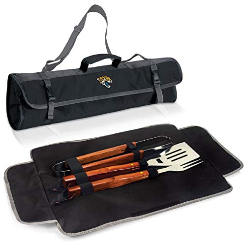 3 Piece NFL Jacksonville Jaguars BBQ Set with Tote Bag Sports Football Grilling Kit Garden Patios Outdoor BBQ Utensils Barbecue Grill Multi Tools Spatula, Tongs, Fork, Fans Gift, Stainless Steel, Wood