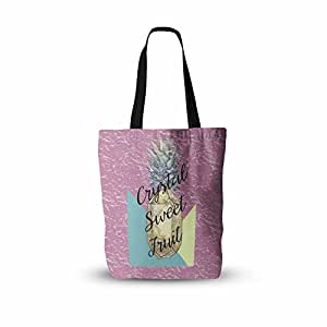 "KESS InHouse Victoria Krupp""Crystal Sweet Fruit"" Purple Yellow Everything Tote Bag, 13"" x 13"", Multicolor"