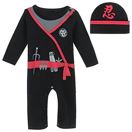 Cosland Baby Boys' Halloween Costume Ninja Romper with Hat (Ninja, 12-18Months)