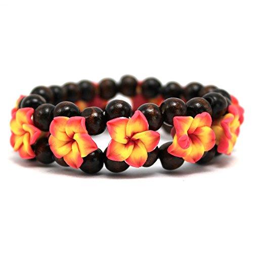(Hawaii FIMO Vibrant Stretch Wood Bead Plumeria CZ Luau Bracelet in)