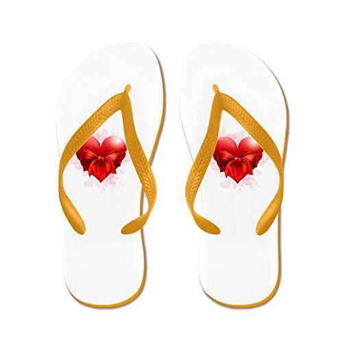 Truly Teague Mens Heart with Red Bow Rubber Flip Flops Sandals Orange bT8jXME