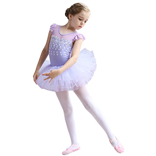 Princess Ballerina Tutu (OBEEII Toddler Kid Girls Flower Applique Ballet Tutu Dress Fly Sleeve Skirted Leotard Dancewear Ballerina Princess Costume Lilac 6-7 Years)