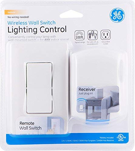GE Wireless Remote Wall Switch Control, No Wiring Needed, 1 Grounded on