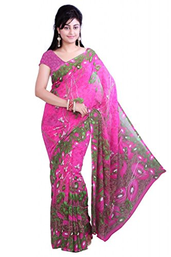 Ishin Women's Georgette Saree With Blouse Piece Free Size Multicoloured ()