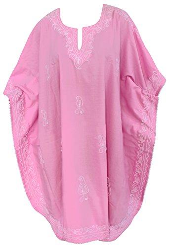 LA LEELA PV Solid Short Caftan Dress Women Light Pink_129 OSFM 14-28W [L-4X] ()
