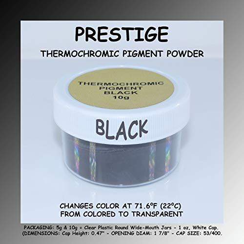 Prestige THERMOCHROMIC Pigment Powder That Changes Color at 71.6F (22C)   Perfect for Color Changing Slime During The Winter!   Heat-Sensitive Nail Polish   (Black (71.6F   22C), 10g)
