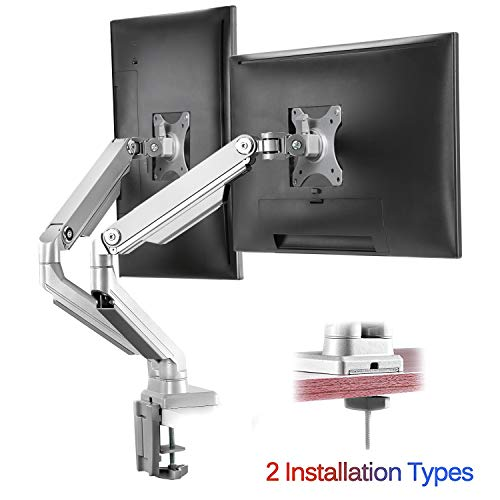 IMtKotW Dual Arm Monitor Stand - Height Adjustable Full Motion Mechanical Spring Monitor Desk Mount...